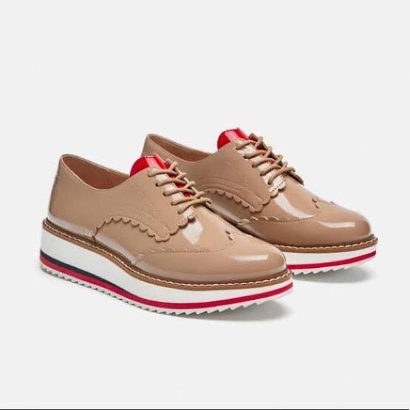 Zara Tan Patent Platform Oxford Shoes w/Heart